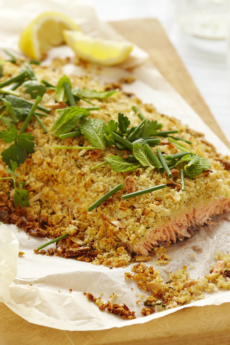 Make this whole crusted atlantic salmon fillet recipe with a side of crispy potato stacks