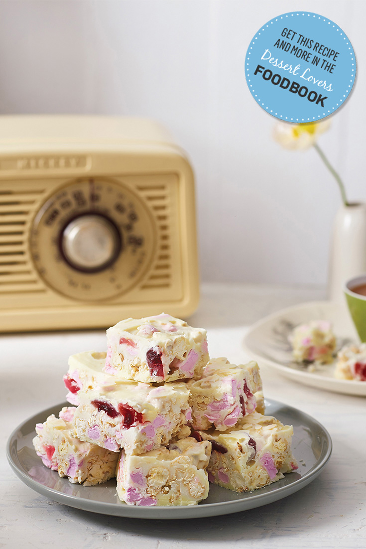 Make an incredible white chocolate rocky road recipe from the 2016 Dessert Lovers Foodbook