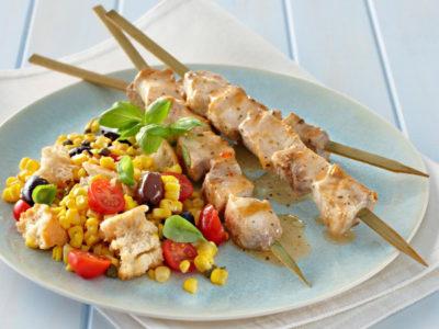 Swordfish Skewers with BBQ Ciabatta Salad