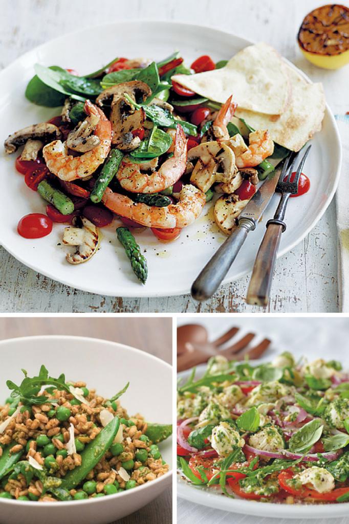 Barbecued Mushroom, Asparagus & Prawn Salad. Pea, Pesto & Farro Salad. Caprese Salad