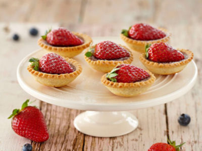 Chocolate Hazelnut Tarts with Strawberries