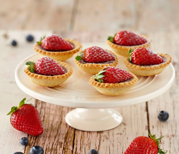 Chocolate Hazelnut Tarts with Strawberries