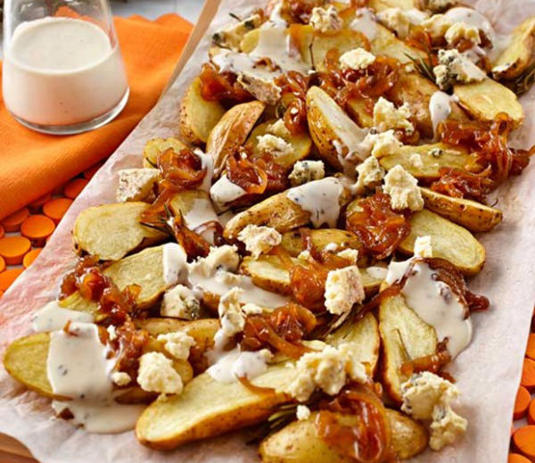 Warm Kipfler, Caramelised Onion & Blue Cheese Salad - Everyday Delicious Kitchen