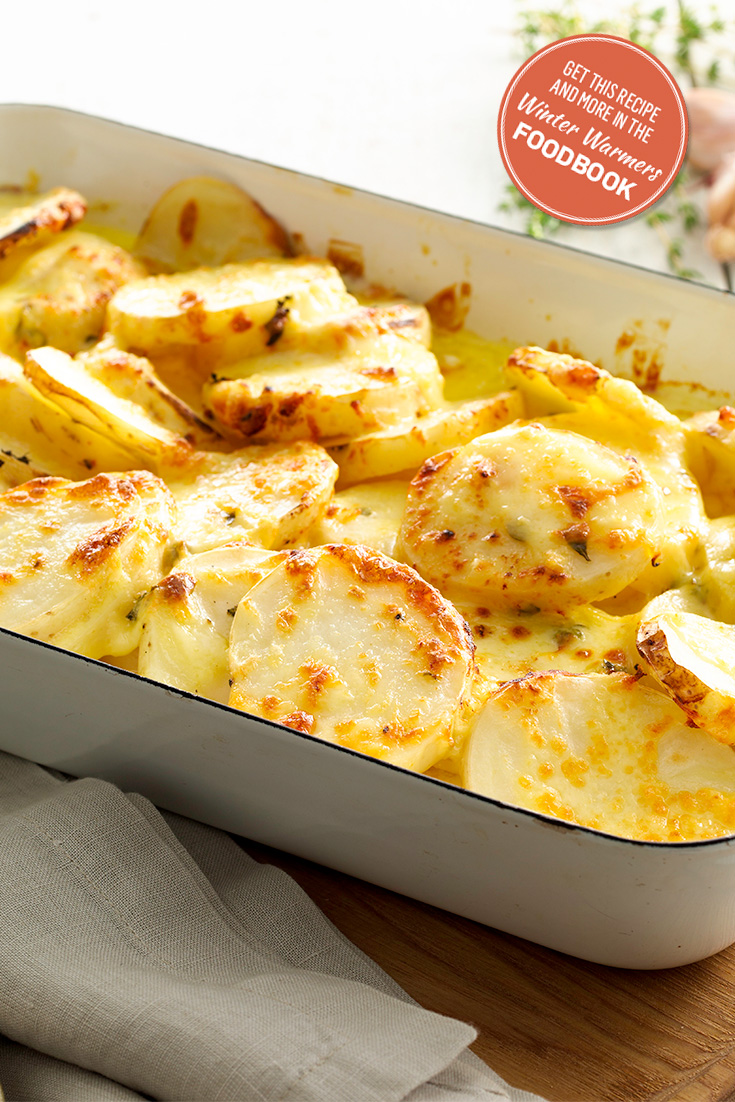 Enjoy this cheesy potato bake recipe from the Winter Warmers Foodbook 2016