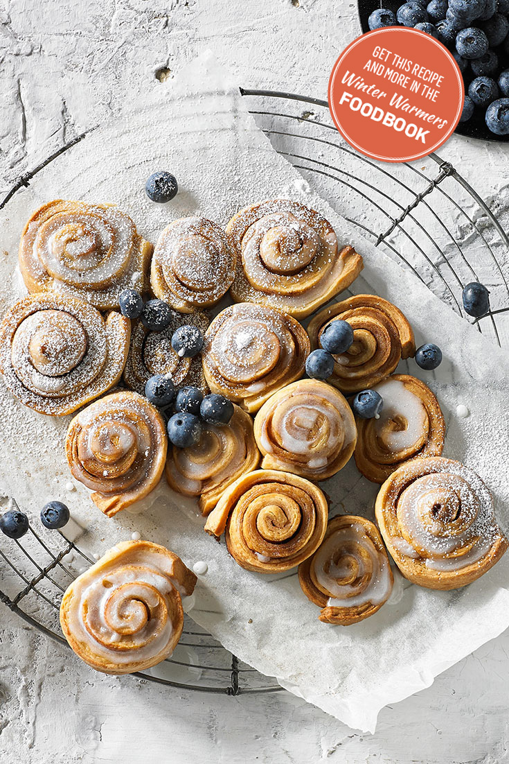 Create cinnamon scrolls using the recipe from the winter warmers foodbook 2016