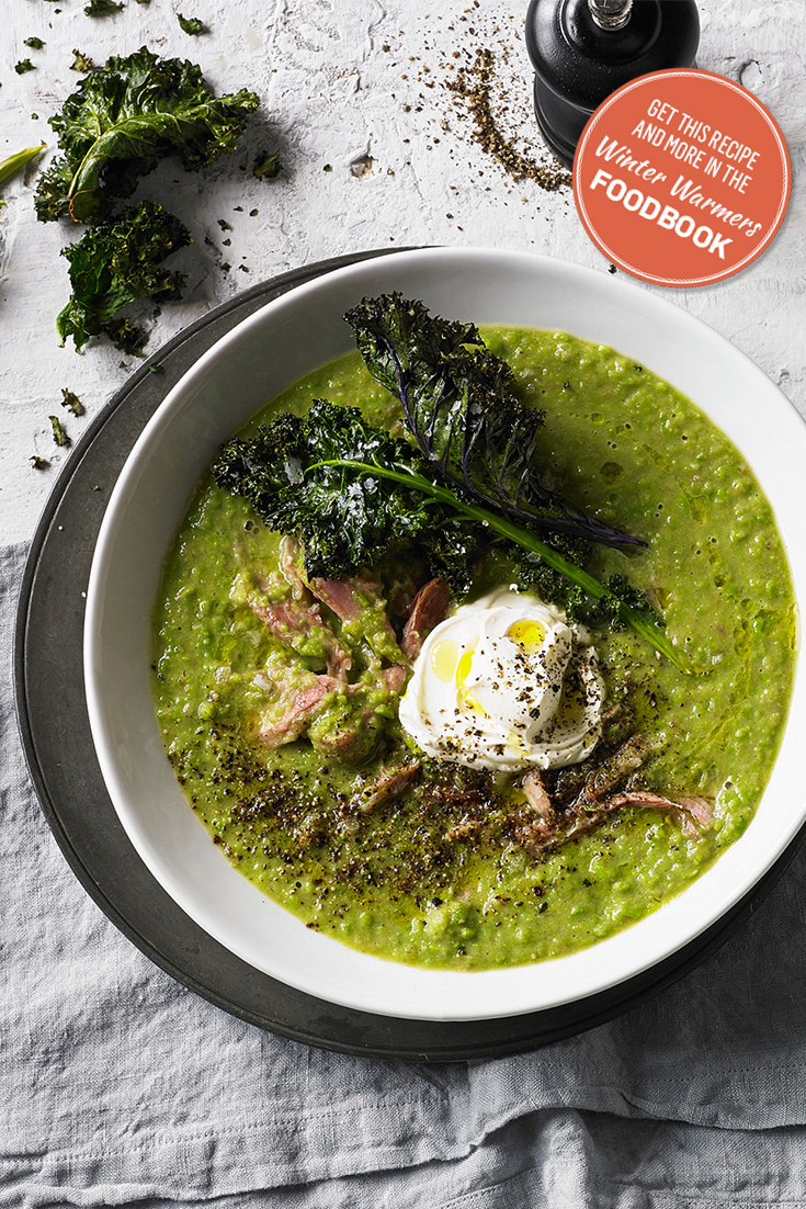 Create this rustic pea and ham soup recipe from the Winter Warmers foodbook 2016