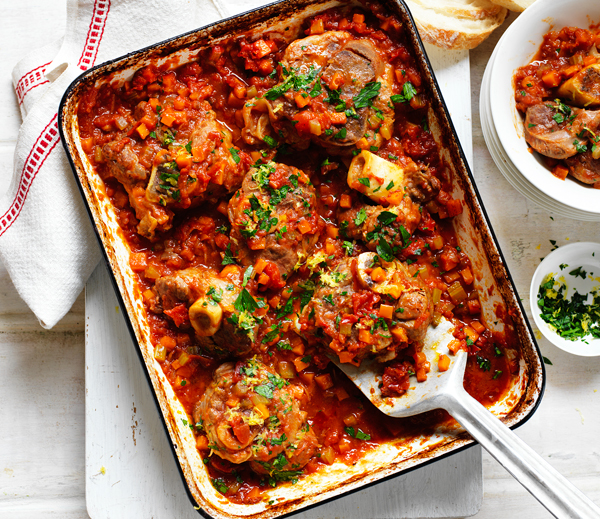 Slow Baked Veal Shanks in Tomato Sauce