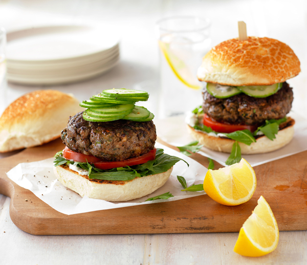 Greek Lamb and Portabella Mushroom Burgers
