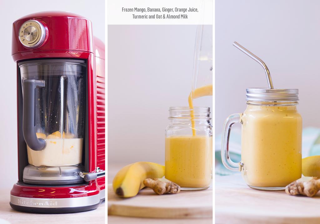 Wonderful Mango and Banana Breakfast Smoothie with Orange Juice and Ginger