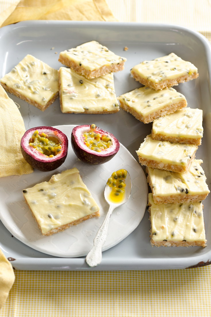 Passionfruit Slice - Quick and easy party snack or dessert with a delicious blend of flavours.