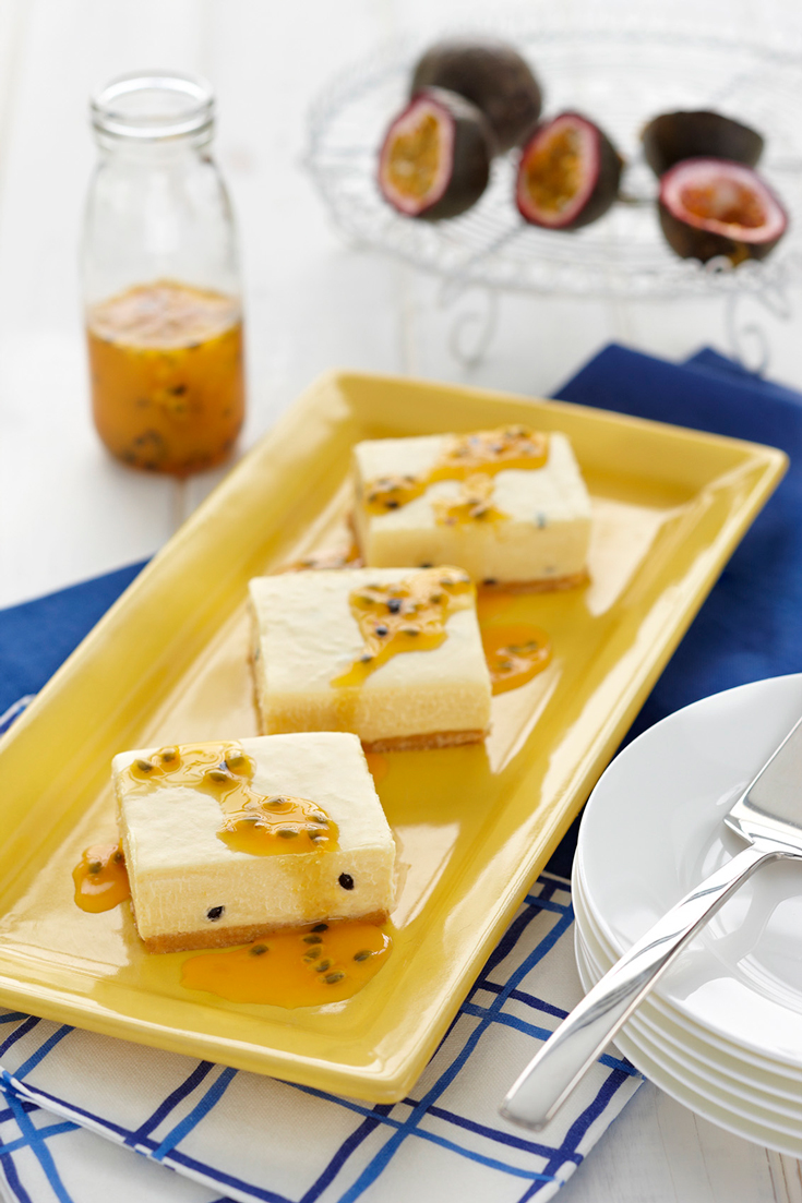 White Chocolate Passionfruit Cheesecake Slice - Cool and creamy summertime dessert