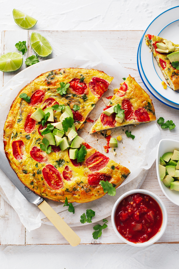Quick and Easy Mexican Pan Frittata, the best breakfast recipe to use up leftover vegetables after Christmas.