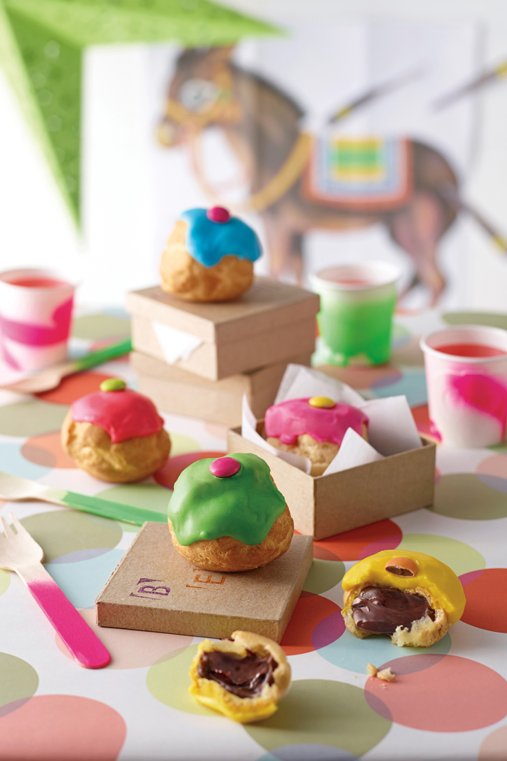 Kids Party Cookbook: Chocolate Custard Profiterole a delicious kids party food filled with creamy chocolate