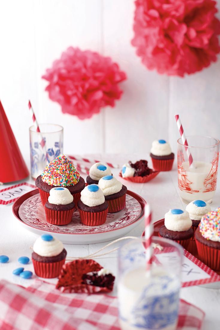 Kids Party Cookbook: Mini Red Velvet Cupcakes - gorgeous bite sized kids party food idea