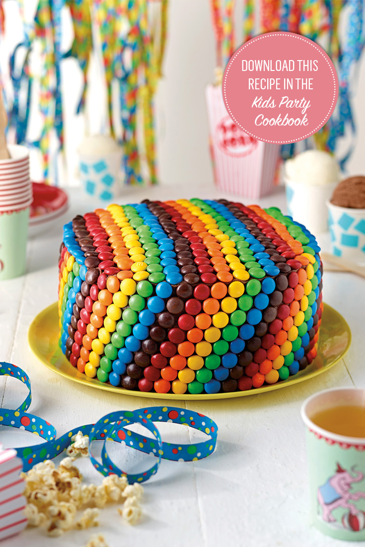 This Rainbow Teacake with Vanilla Frosting and M&Ms is perfect for kids parties