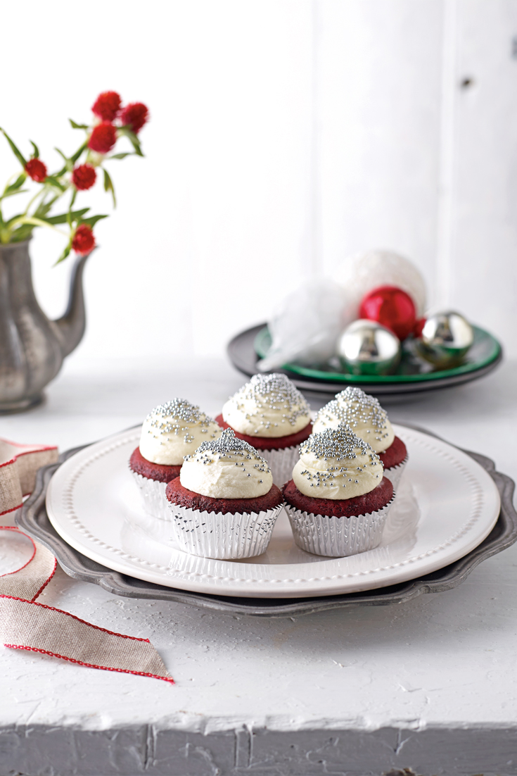 Stunning red velvet cupcake recipe dressed up for Christmas desserts