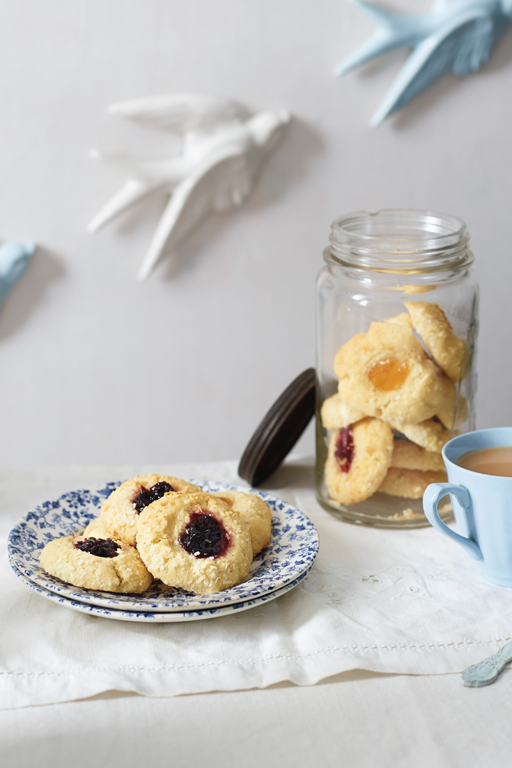 Jam Drop Cookie recipe with a coconut twist. A lovely afternoon tea treat straight from Grandma's Kitchen baking recipes