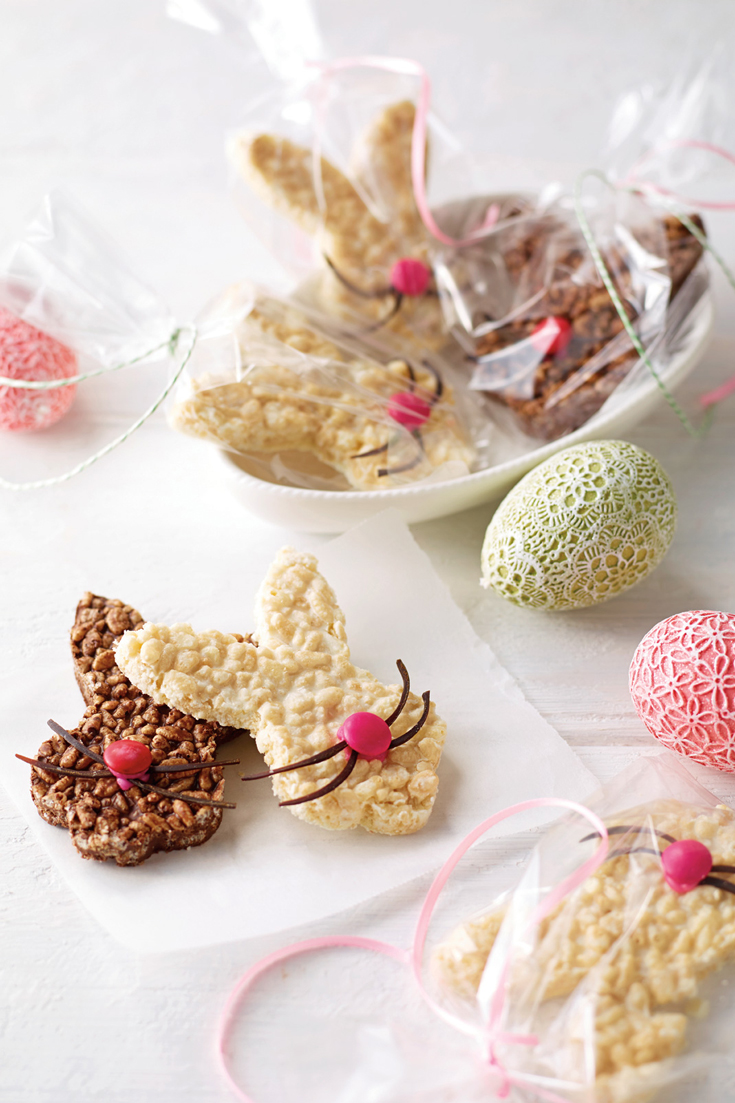 Chocolate Crackle bunnies - a quick and easy sweet treat or dessert to celebrate Easter.