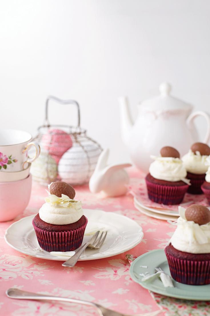 Red Velvet Easter Cupcakes - The best, classic dessert to bake for Easter.