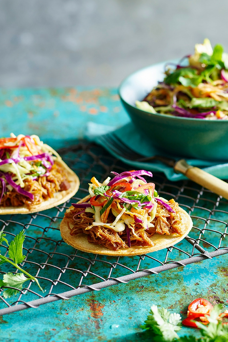 Pulled chicken tostada with slaw - recipes for your slow cooker