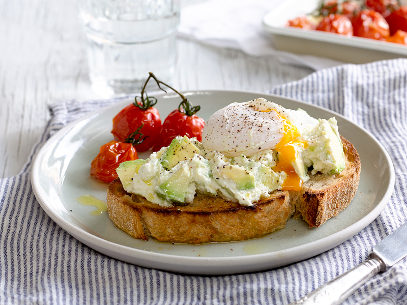 Poached Eggs with Ricotta and Avocado Sourdough Toast