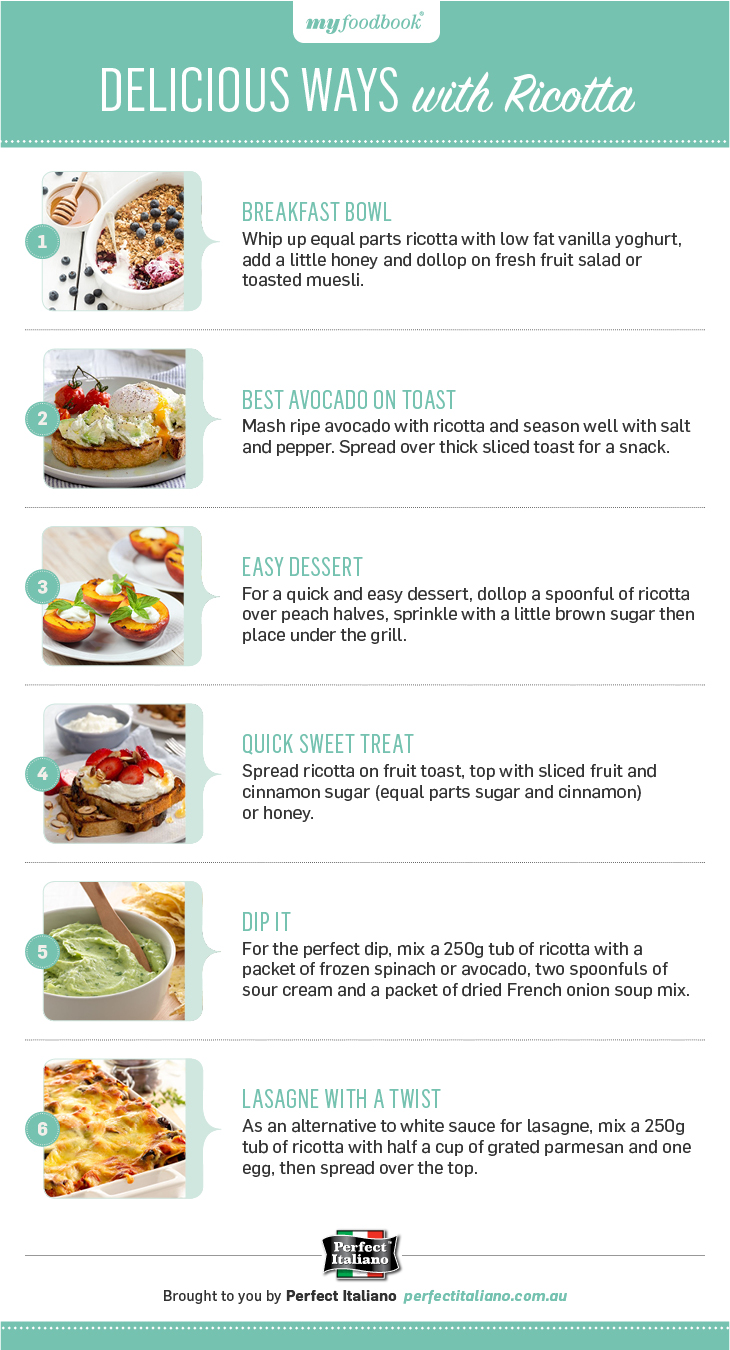 Easy ways to cook with Ricotta. Use ricotta as an alternative to cream cheese and cream when cooking