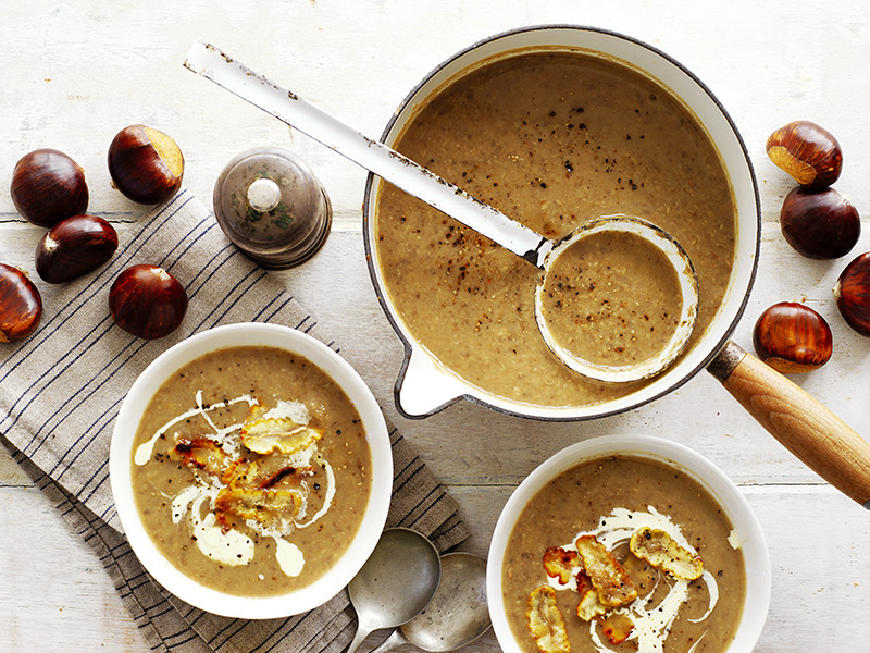 A quick and easy winter-warmer soup recipe made with chestnuts