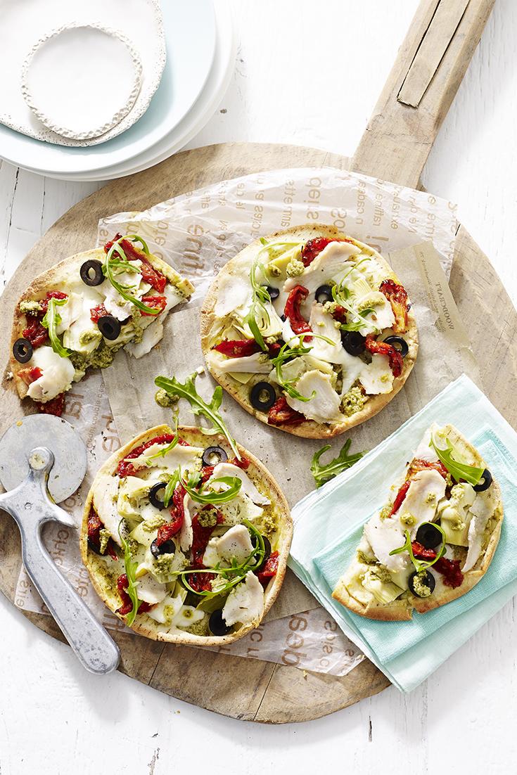 Chicken Breast and Pesto Pita Pizza- Perfect Chicken Recipe for Summer Entertaining