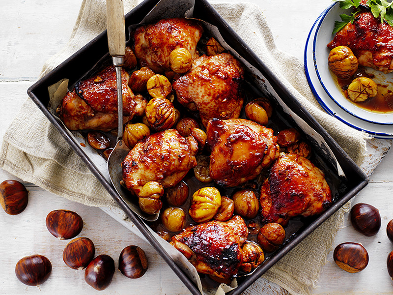 Easy asian-inspired chicken recipe with roasted chestnuts and spices