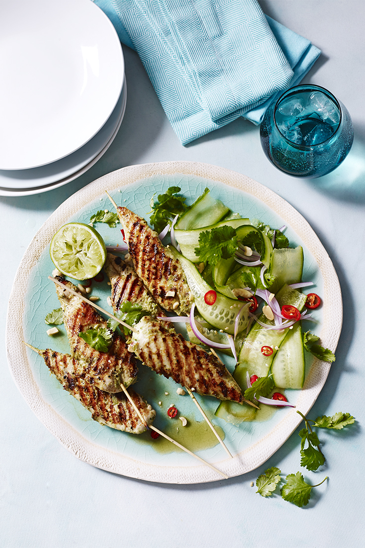Tenderloins in lemongrass, chilli and coconut flavours with cucumber salad- Cooking the Perfect Chicken