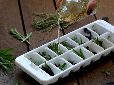 Make homemade marinade cubes by freezing herbs and olive oil in an ice tray