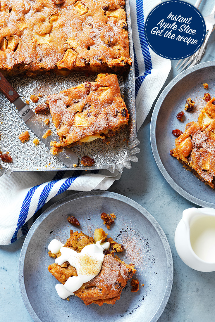Create a delicious instant apple slice with this recipe from the Devondale Farming Community