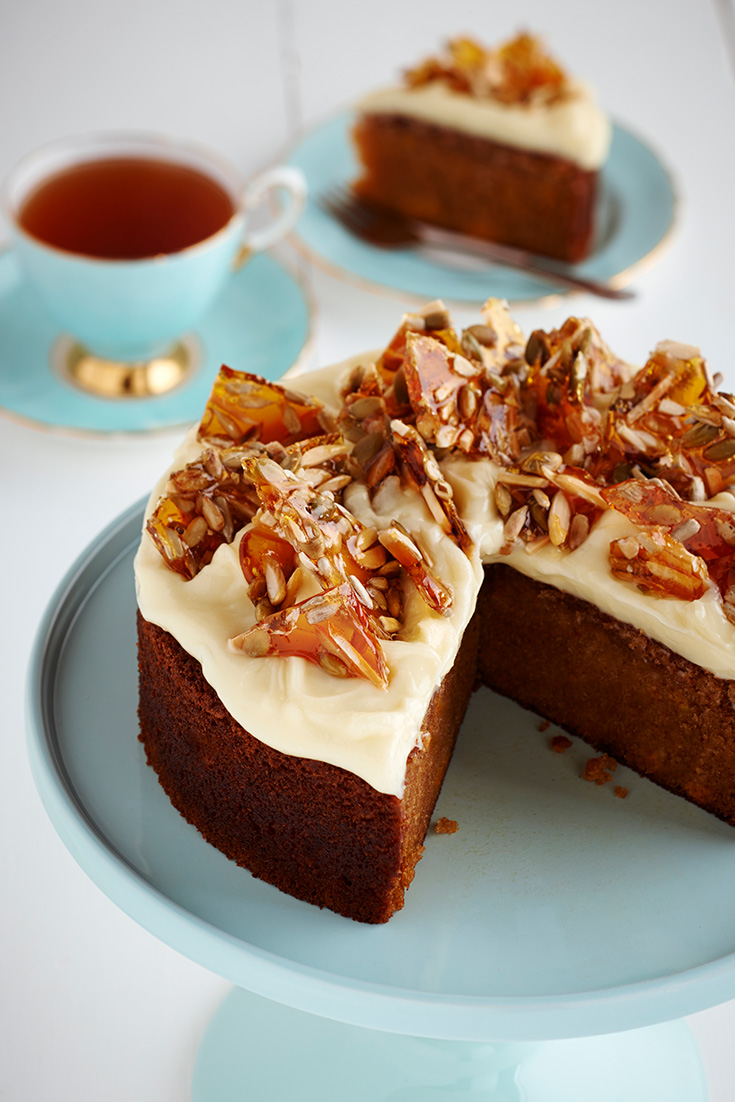 Try this butternut pumpkin spice cake with sunflower almond toffee recipe. Your guest will for sure be impressed