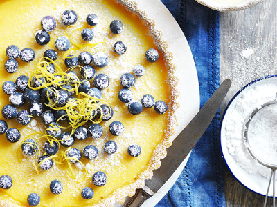 This perfect lemon tart by Devondale appears in the Farmers Cookbook
