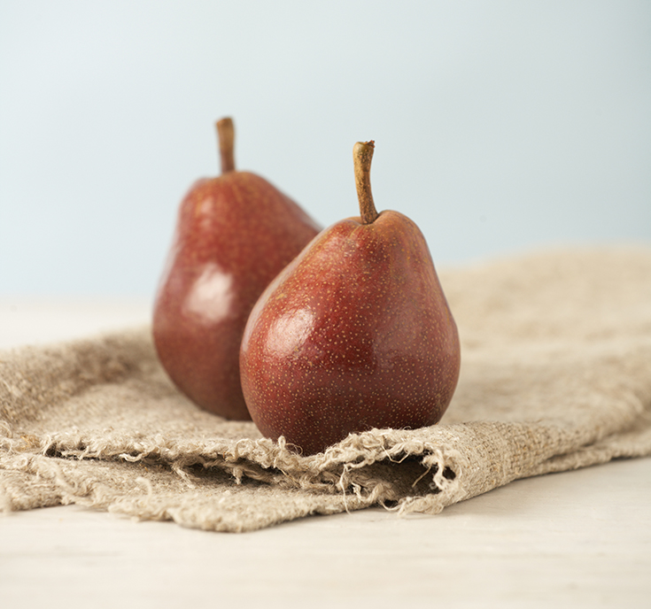 The red anjou pear has a sweetness that is works well in flavour combinations such as pear and rosemary