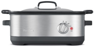 This Slow cooker by Breville is a great option for creating delicious easy meals. Try the pressure cooker instead for a quick cooking time.