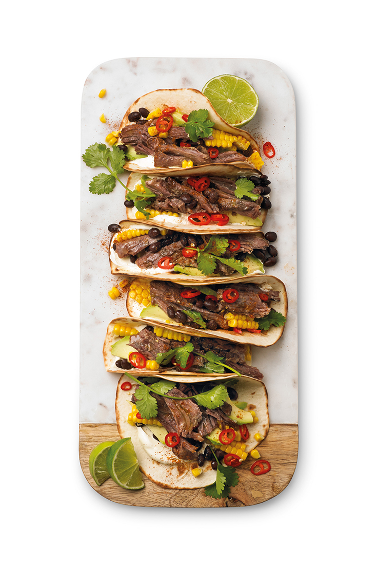 Turn your 8 hour slow cooked beef into these zesty and flavourful soft shell tacos