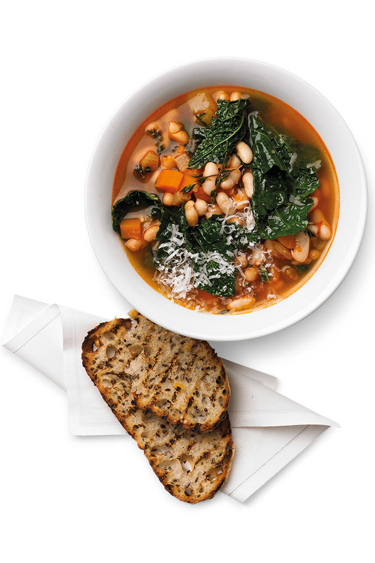 This easy and tasty kale and white bean soup is the perfect vessel for legumes. A hearty soup that the family will love.