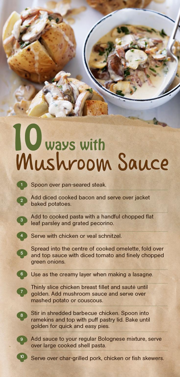 Create 10 delicious recipes with one mushroom sauce recipe