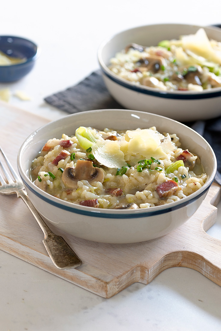 Make this delicious recipe with pancetta and leeks when you want to get cooking risotto