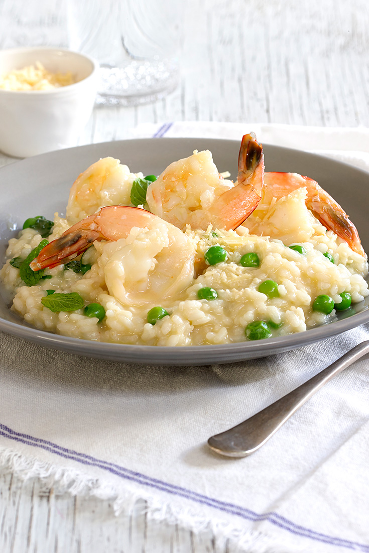 Cooking risotto is a great idea in winter when you want to make comfort food. Try this recipe for prawn and pea risotto.