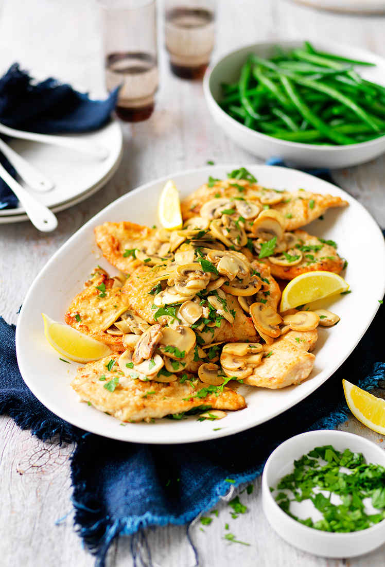Serve this mushroom, lemon & garlic chicken recipe with creamy mashed potatoes