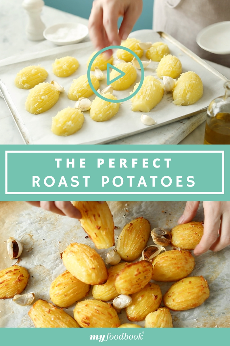 find out how to roast potatoes perfectly with the myfoodbook Cooking School hasselback potato video