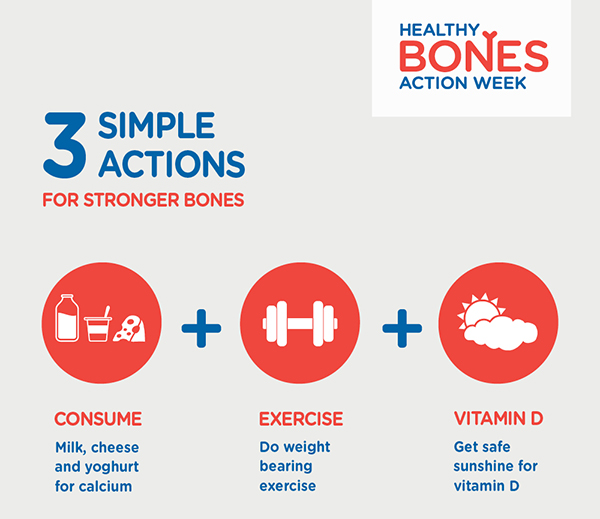 Improve bone health with a balanced dairy diet, exercise and vitamin D