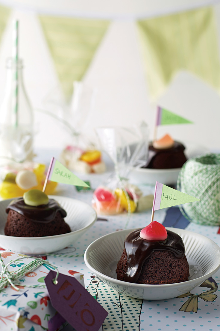 Make mini chocolate mud cakes and top with chocolate ganache for the perfect kids party treat