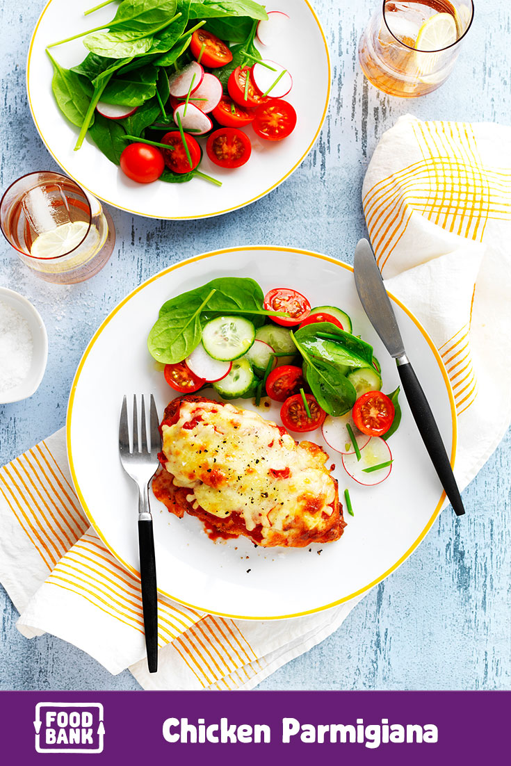 Make this yummy parmigiana dinner recipe with Foodbank productsin August to support the Food Fight.