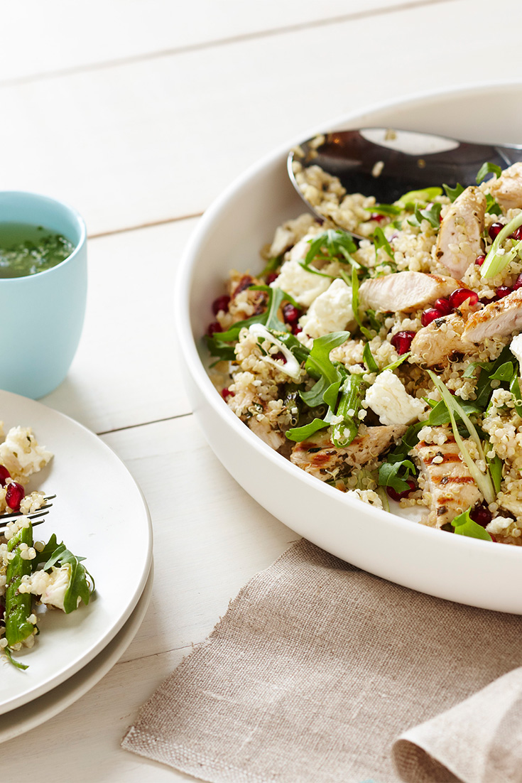 Improve bone health with this warm quinoa salad recipe which contains 1 serve of dairy