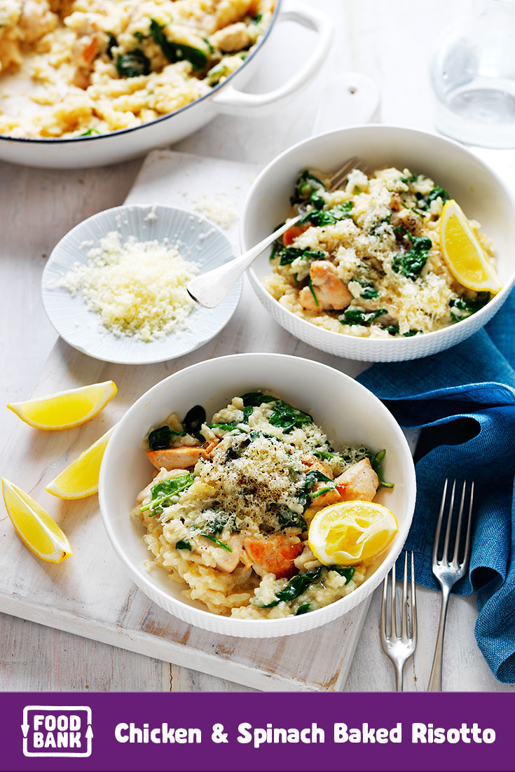 Make this easy baked risotto dinner recipe with Foodbank productsin August to support the Food Fight.