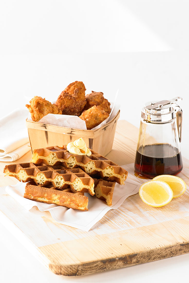 Make a Father's Day recipe that day will love, using this idea for fried chicken and maple syrup waffles