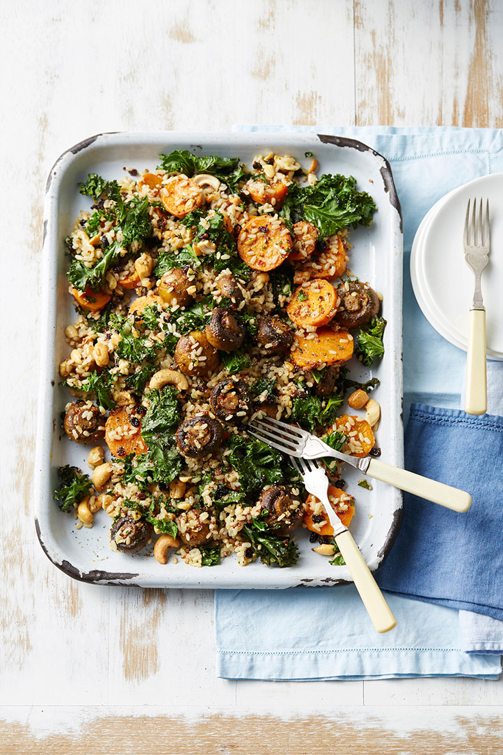 Roast Mushroom Kale and Brown Rice salad, the perfect healthy lunch or dinner
